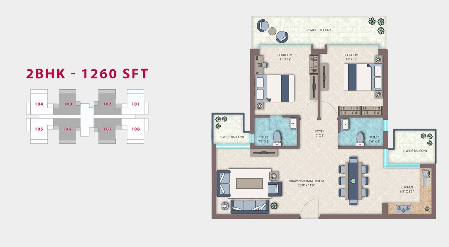Emerald Heights 2bhk 1260sft Floor Plan