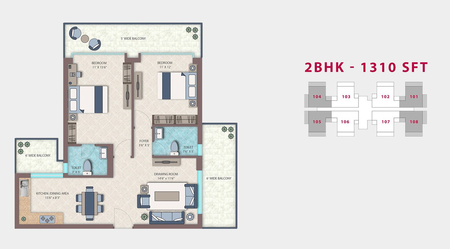 Emerald Heights 2BHK 1310sft Floor Plan